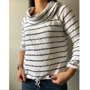 Caslon striped terry cloth cowl top white/navy XS